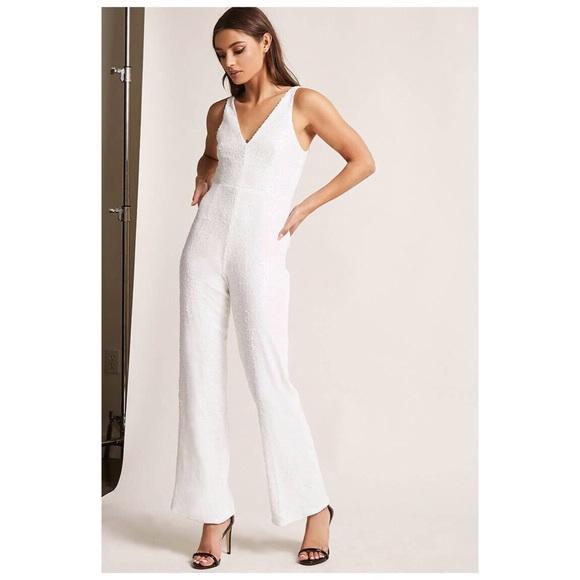 c8280ab416c1 NWT Forever 21 White Wide Leg Full Sequin Jumpsuit